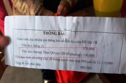 Chính quyền bắt học sinh phải trả tiền làm đường