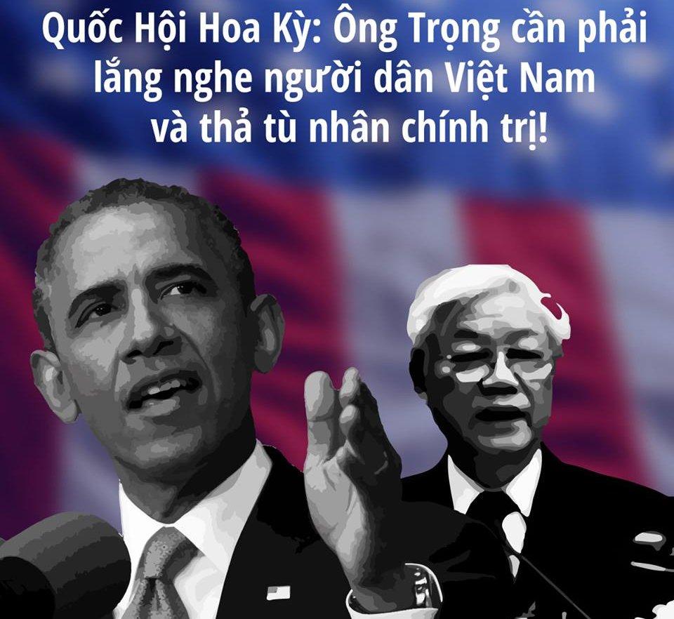 Các dân biểu Hoa Kỳ nhắn nhủ TT Obama trước buổi gặp với ông Nguyễn Phú Trọng