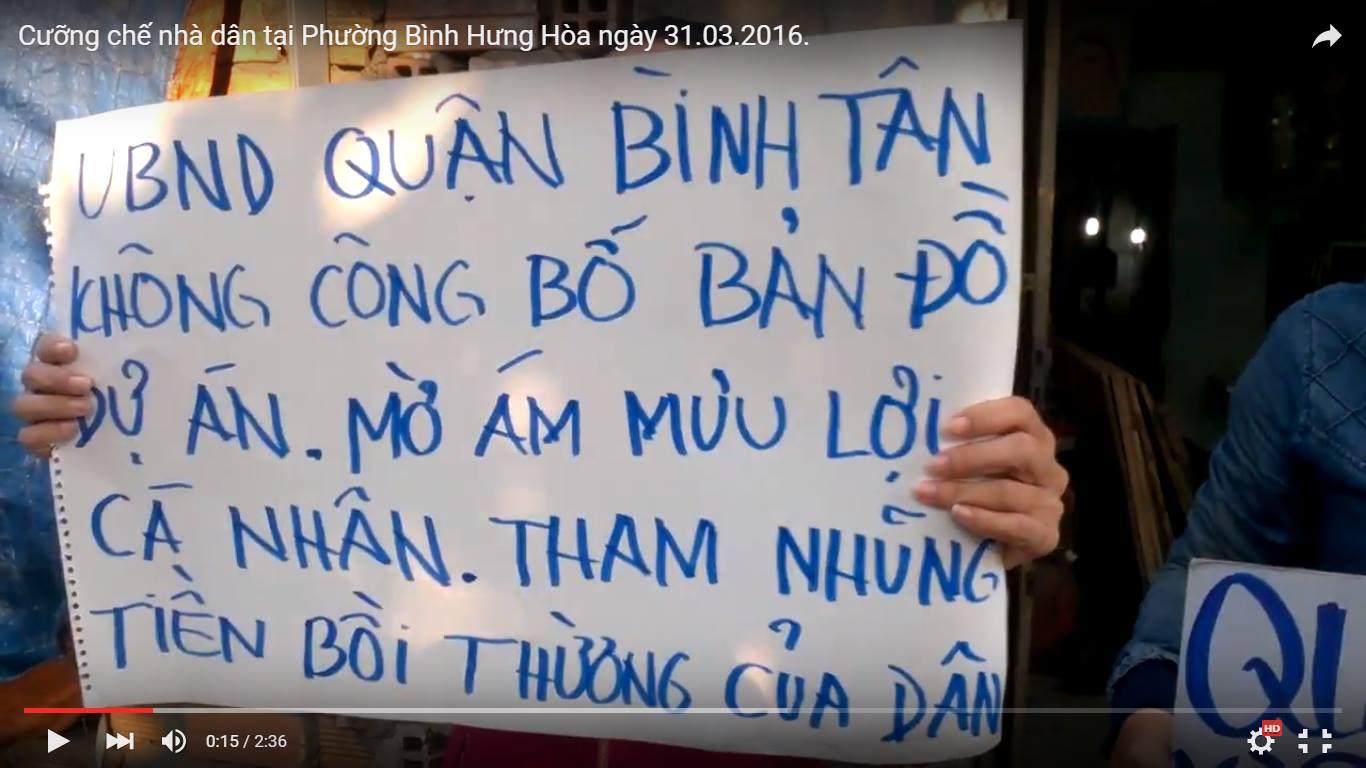 Nhà cầm quyền tại Sài Gòn cưỡng chế nhà dân khi chưa bồi thường