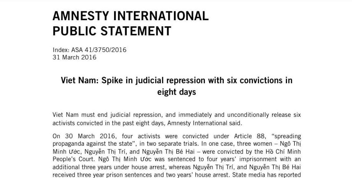 Tổ chức Ân Xá Quốc Tế lên án về việc bỏ tù 6 nhà hoạt động trong nước