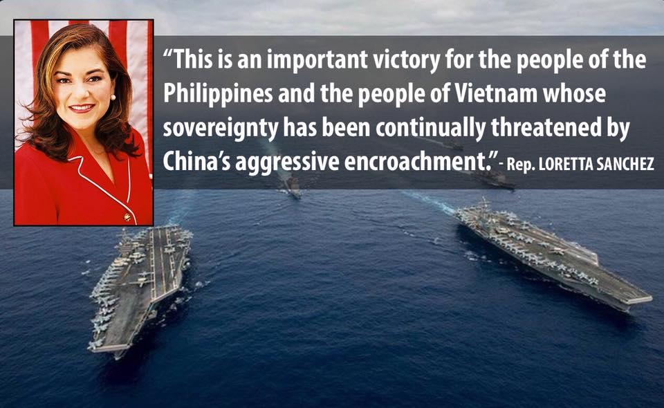 Dân Biểu Loretta Sanchez hoan nghênh phán quyết về biển Đông của Toà Quốc Tế
