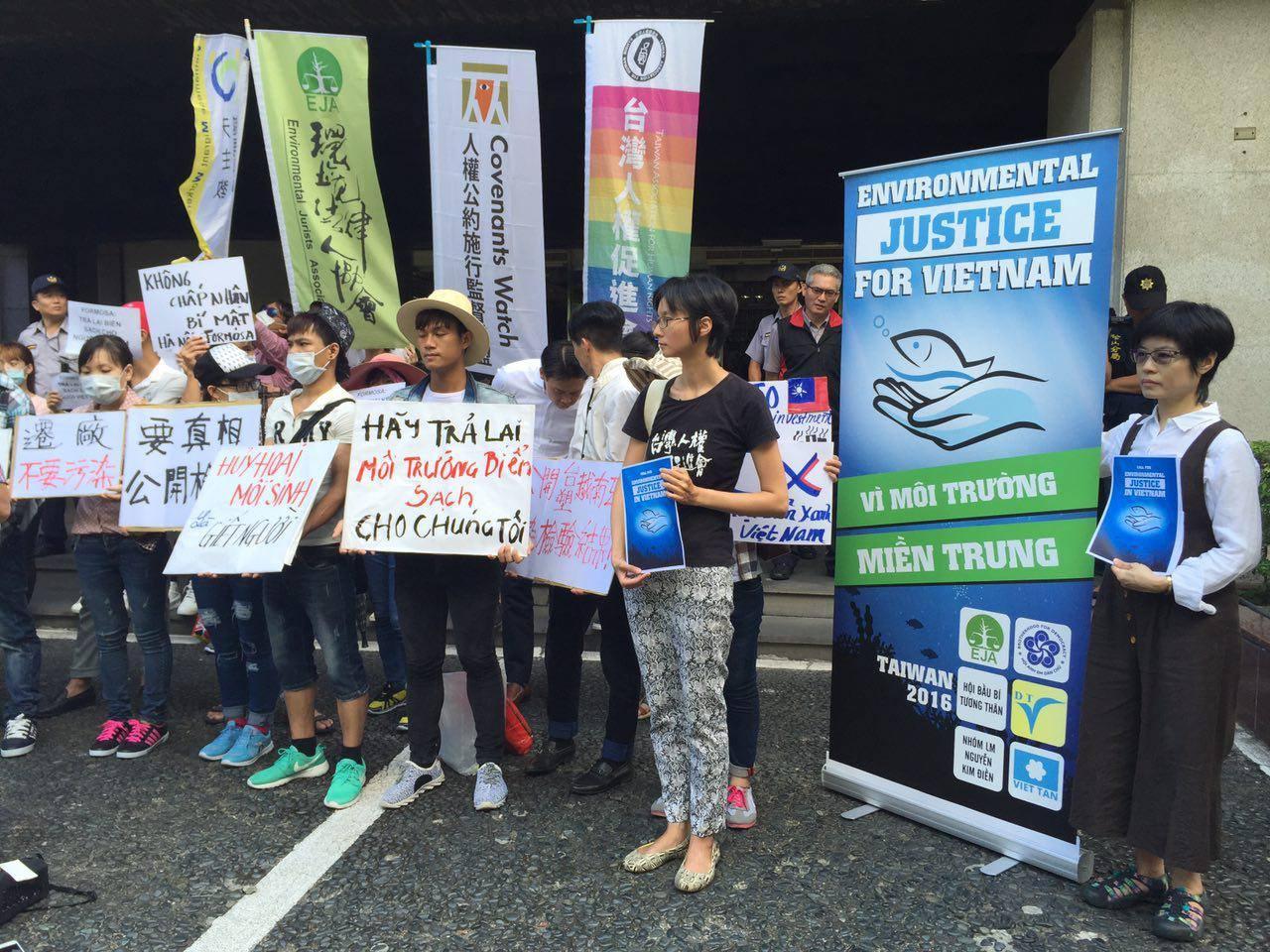 Các tổ chức Việt và Đài Loan họp báo và biểu tình trước trụ sở Formosa