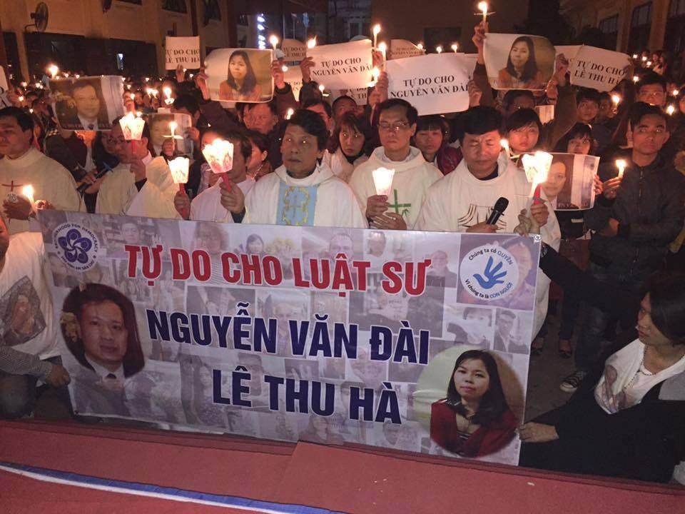 Sài Gòn cầu nguyện cho Luật sư Nguyễn Văn Đài và Lê Thu Hà