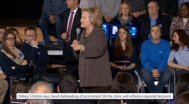 H. Clinton nhận xét về việc chặt đầu giáo sĩ Shi'ite ở Ả Rập Saudi