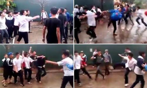 20 nam sinh đánh nhau như xã hội đen