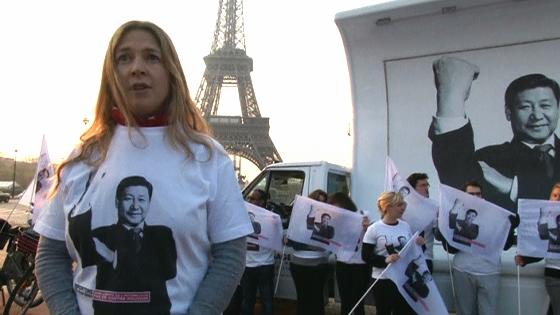 Phóng viên Không Biên Giới biểu tình chống Tập Cận Bình ở Paris
