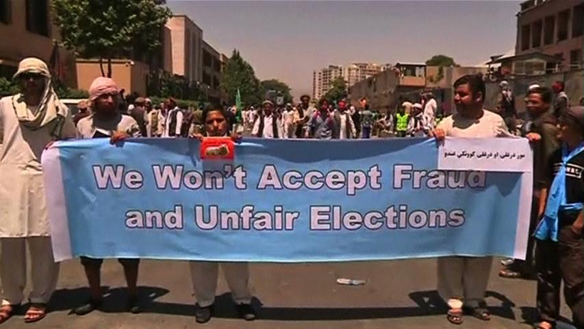 Biểu tình ủng hộ ứng cử viên Abdullah ở Kabul