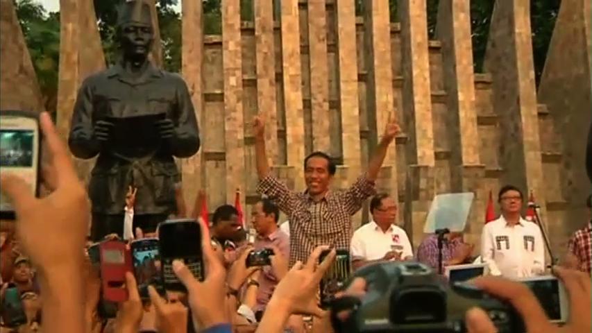 Ứng cử viên Jokowi ăn mừng chiến thắng bầu cử tổng thống Indonesia
