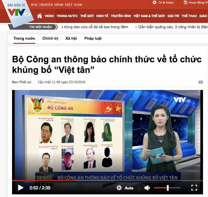 CSVN dùng chiến thuật hù dọa khi chính thức gọi Việt Tân là tổ chức khủng bố