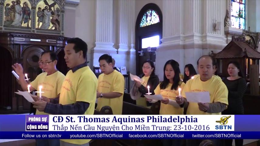 Cộng đoàn giáo xứ St. Thomas Aquinas thắp nến cầu nguyện cho miền Trung