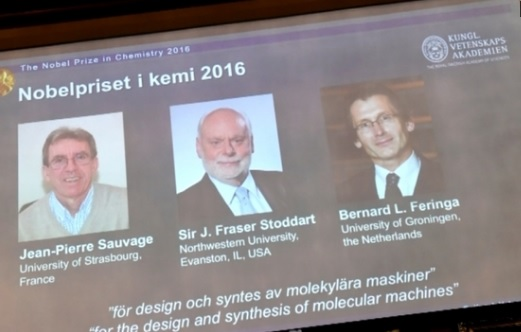 3 khoa học gia Pháp, Scotland và Hòa Lan thắng giải Nobel Hóa Học 2016