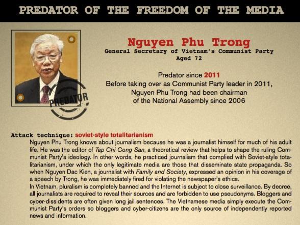Nguyễn Phú Trọng tiếp tục vào danh sách những kẻ diệt trừ tự do truyền thông