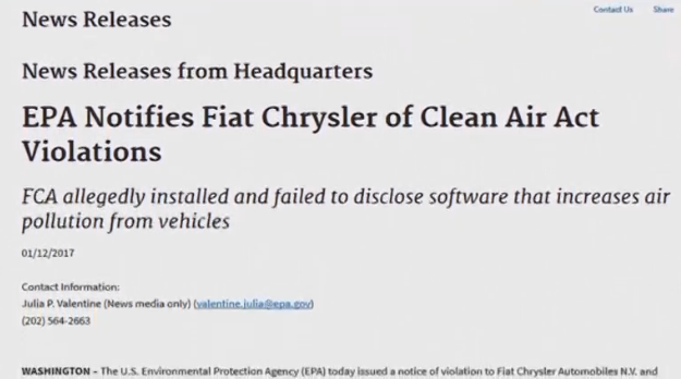EPA cáo buộc Fiat Chrysler gian lận khí thải