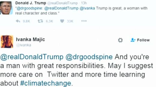 Ông Trump nhắn tin lầm Ivanka trên Twitter