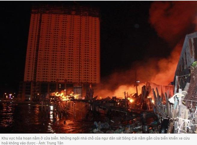 Hỏa hoạn trên cồn giữa Sông Cái  Nha Trang, 78 nhà bị thiêu rụi