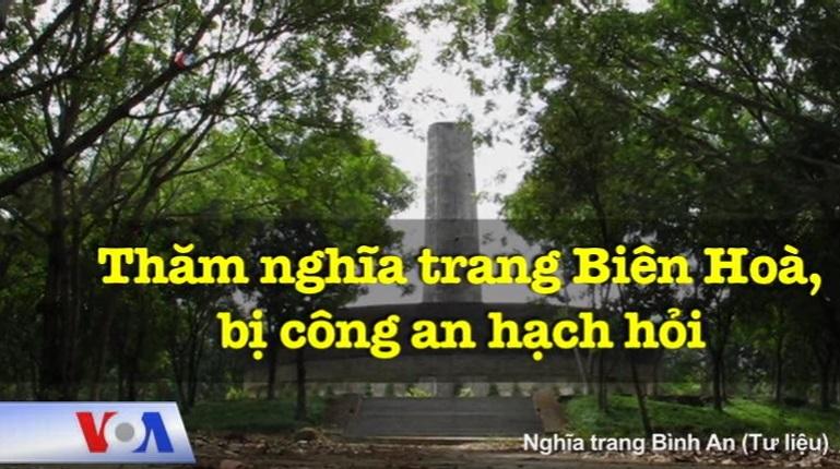 Công an CSVN câu lưu người thăm nghĩa trang quân đội Biên Hoà