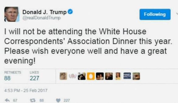 Tổng Thống Trump không tới dự dạ tiệc với giới truyền thông tại Tòa Bạch Ốc
