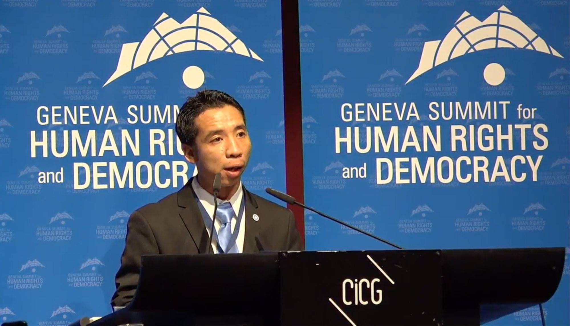 Cựu TNLT Đặng Xuân Diệu phát biểu trước Hội Nghị Geneva – Nhân Quyền và Dân Chủ 2017