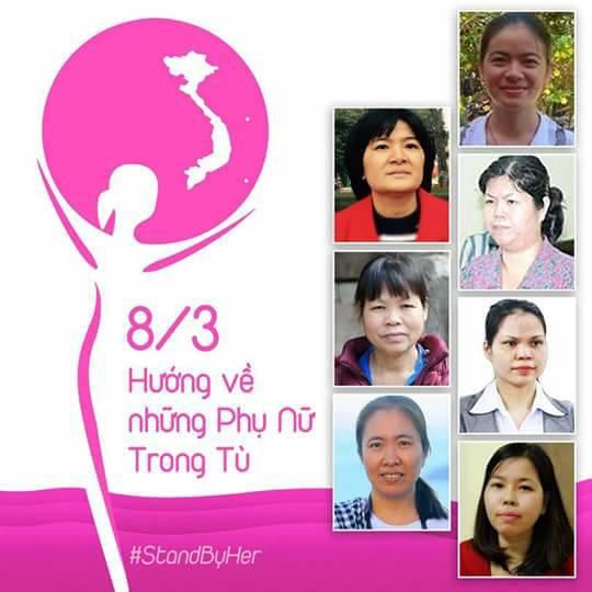 Nhân ngày Quốc Tế Phụ Nữ 8/3, 50 phụ nữ và 20 tổ chức kêu gọi hướng về các phụ nữ trong tù