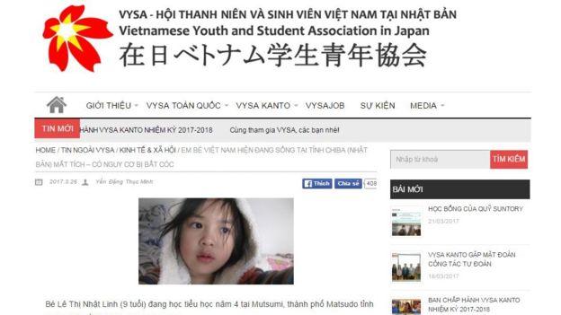 Tìm thấy thi thể bé gái Việt mất tích ở Nhật Bản