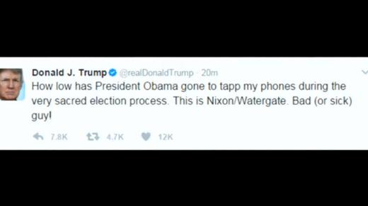 Tổng Thống Donald Trump cáo buộc Cựu Tổng Thống Obama nghe lén điện thoại trong thời gian tranh cử