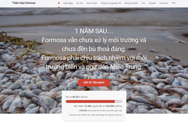 Thỉnh nguyện thư về thảm họa Formosa đã có hơn 86,500 chữ ký