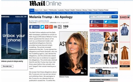 Nhật báo Daily Mail Anh Quốc bồi thường thiệt hại cho bà Melania Trump