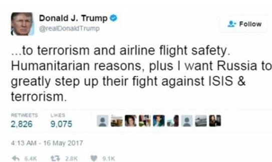 Tổng thống Trump nhắn tin qua Twitter, khẳng định có quyền chia sẻ thông tin với Nga