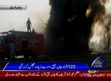 Xe bồn nổ cháy ở Pakistan- ít nhất 132 chết, 80 người bị thương