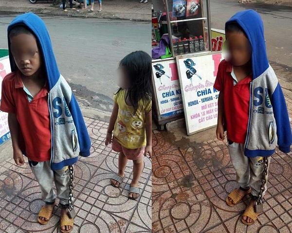 Bé trai bị xích tay chân lang thang giữa chợ ở Đắk Lắk