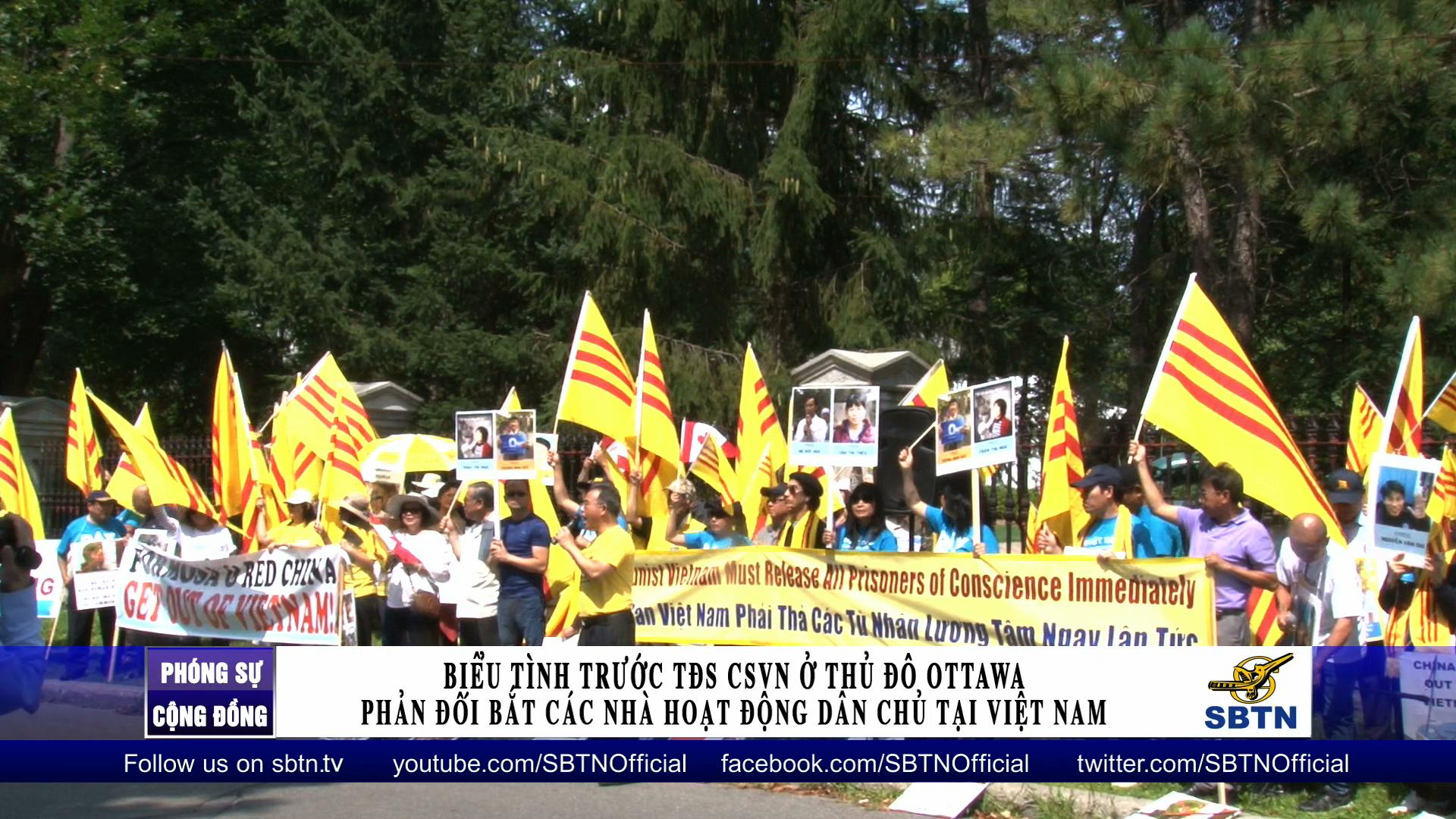 Biểu tình phản đối bắt các nhà hoạt động dân chủ tại VN ở Canada