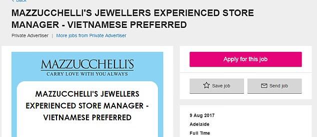 Cửa hàng trang sức Úc gây tranh cãi với quảng cáo tuyển nhân viên ưu tiên cho người Việt