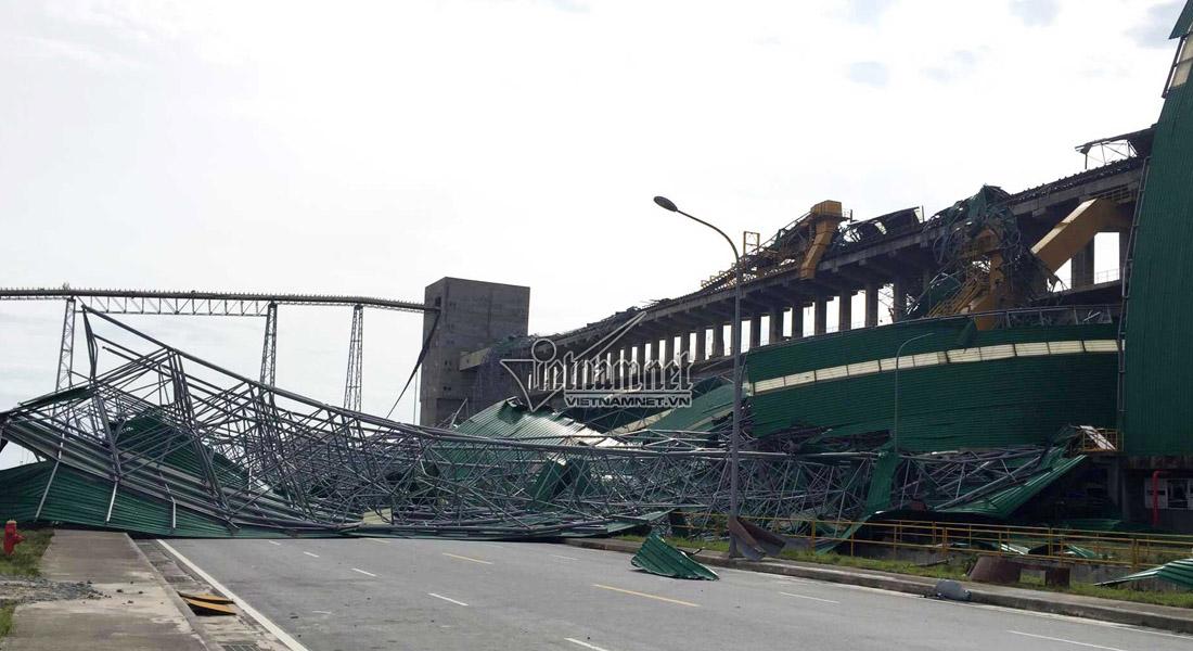 Bão số 10 đánh sập kho than nhà máy nhiệt điện của Formosa Hà Tĩnh