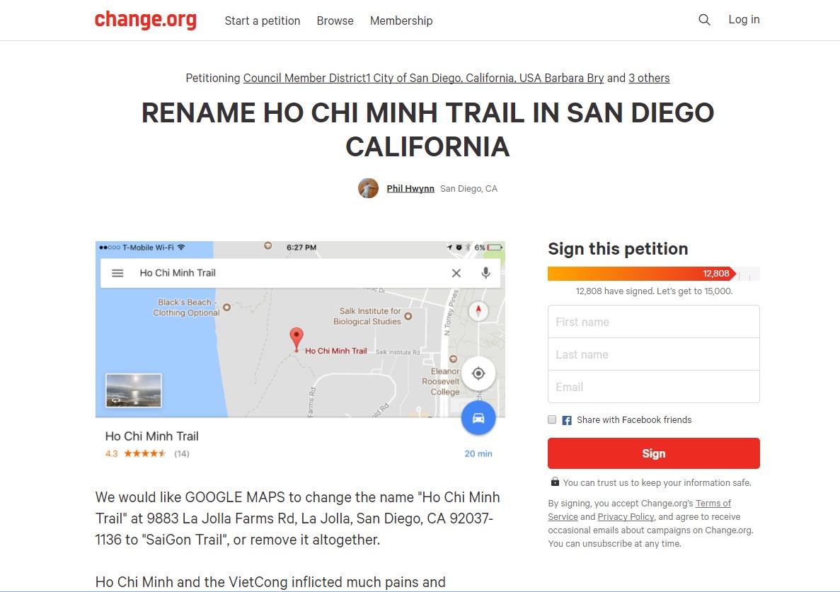 4 dân biểu Hoa Kỳ giúp loại bỏ tên đường 'Ho Chi Minh Trail' khỏi bản đồ Google
