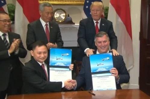 Tổng thống Trump ca ngợi thỏa thuận 13.8 tỷ Mỹ kim giữa Boeing và Singapore Airlines