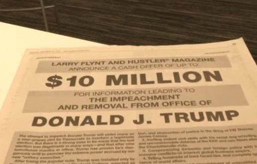 Chủ tạp chí Hustler tặng 10 triệu Mỹ kim cho thông tin dẫn tới việc truất phế tổng thống Trump