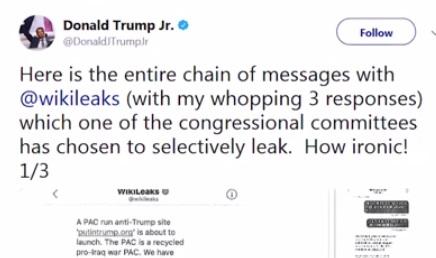 Trưởng nam tổng thống Trump nhắn tin qua lại với Wikileaks trước và sau cuộc bầu cử