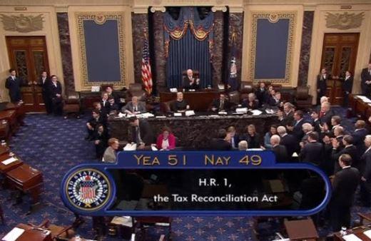 Thượng Viện thông qua dự luật cải cách thuế của Cộng Hoà với kết quả theo đảng pháo 51 trên 49