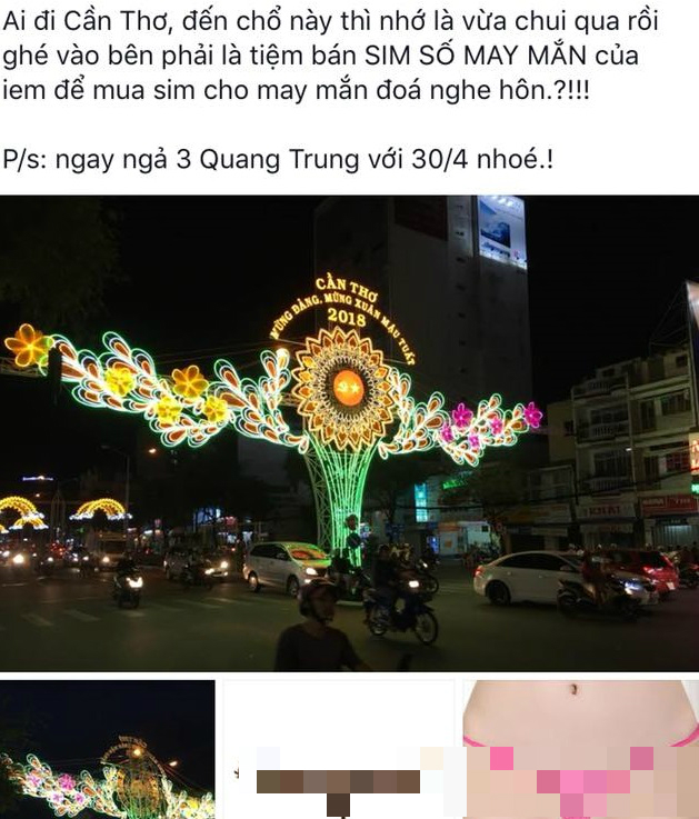 Chùm đèn 'mừng đảng mừng xuân' ở Cần Thơ được so sánh với quần lót