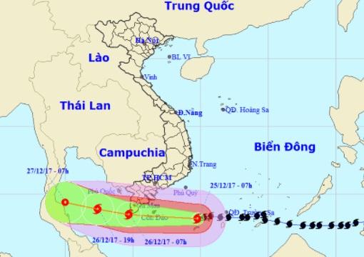 Các tỉnh Miền Nam may mắn khi tâm bão Tembin không đi vào đất liền