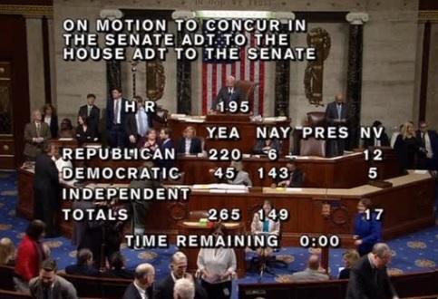 Hạ viện thông qua dự luật của thượng viện, tài trợ chính phủ cho tới ngày 8 tháng 2