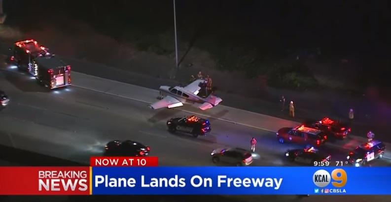 Phi cơ nhỏ đáp khẩn cấp xuống freeway 55 ở Costa Mesa Nam Cali