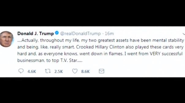 Tổng thống Trump nhắn tin Twitter:  ông là thiên tài ổn định