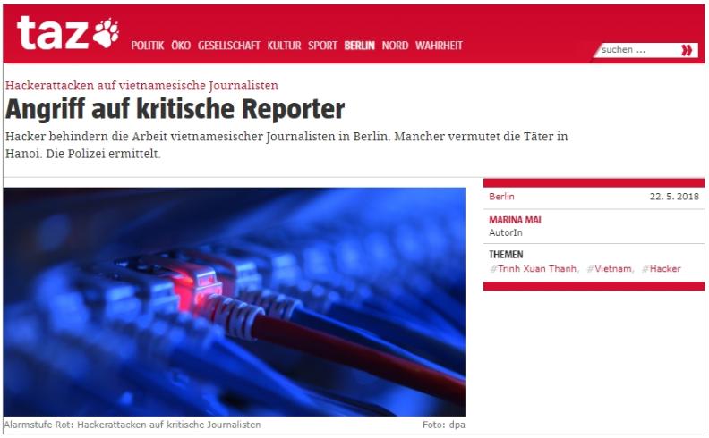 Tờ Thời Báo ở Đức bị tin tặc tấn công vì đưa tin vụ bắt cóc Trịnh Xuân Thanh