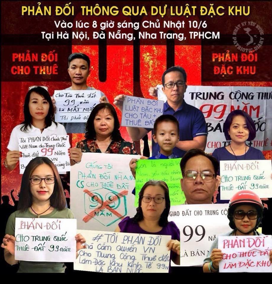 Biểu tình chống luật đặc khu sẽ diễn ra tại nhiều thành phố lớn của Việt Nam