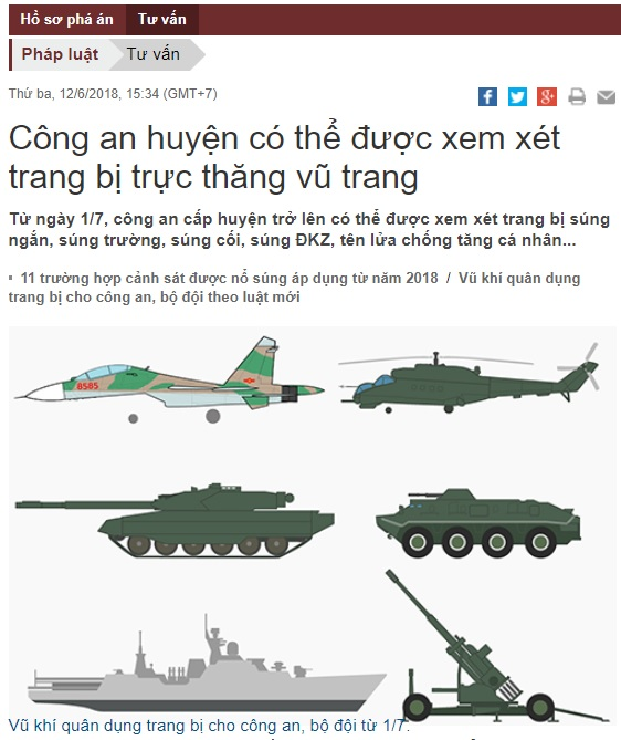 Công an CSVN được phép trang bị trực thăng chiến đấu và súng chống tăng