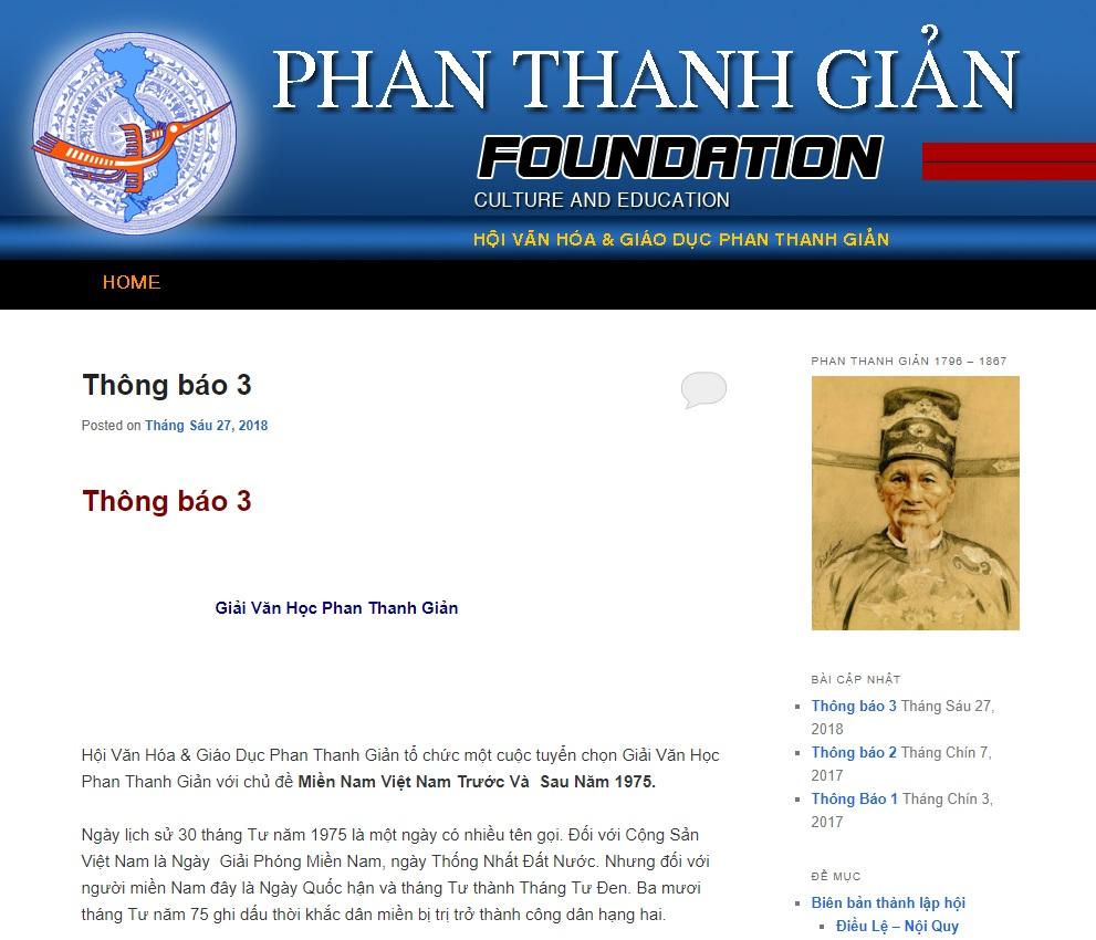 Tổ chức Giải Văn Học Phan Thanh Giản trị giá 15,000 Mỹ kim