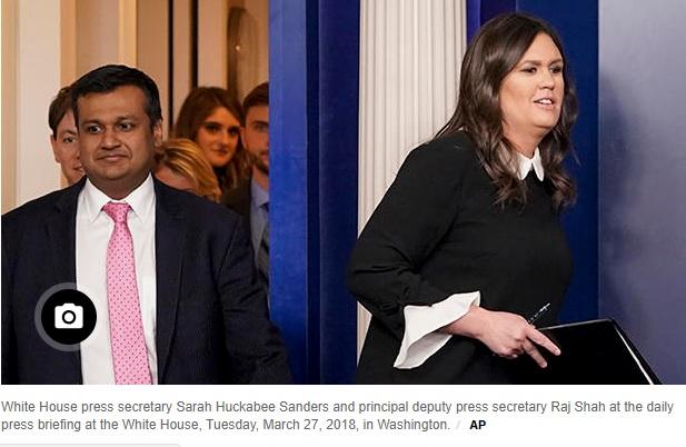 Hai phát ngôn viên Sarah Sanders và Raj Shah sẽ rời khỏi Tòa Bạch Ốc