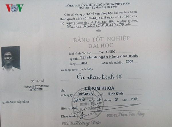 Một trưởng ban tổ chức huyện ủy ở Gia Lai dùng bằng đại học giả