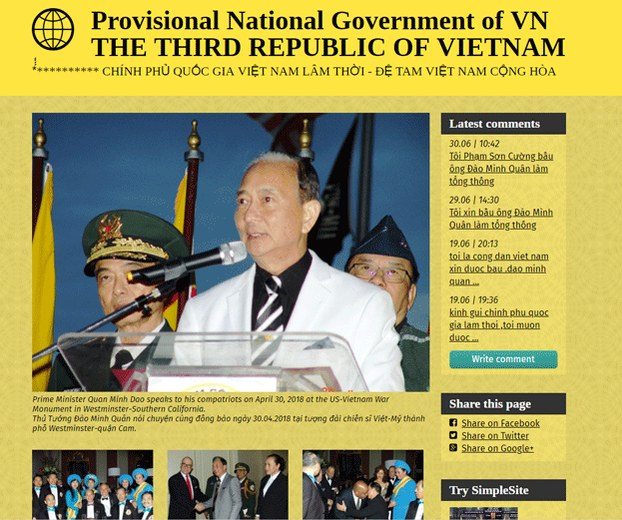 CSVN xử thêm 4 người thuộc 'Chính Phủ Quốc Gia Việt Nam Lâm Thời' của ông Đào Minh Quân